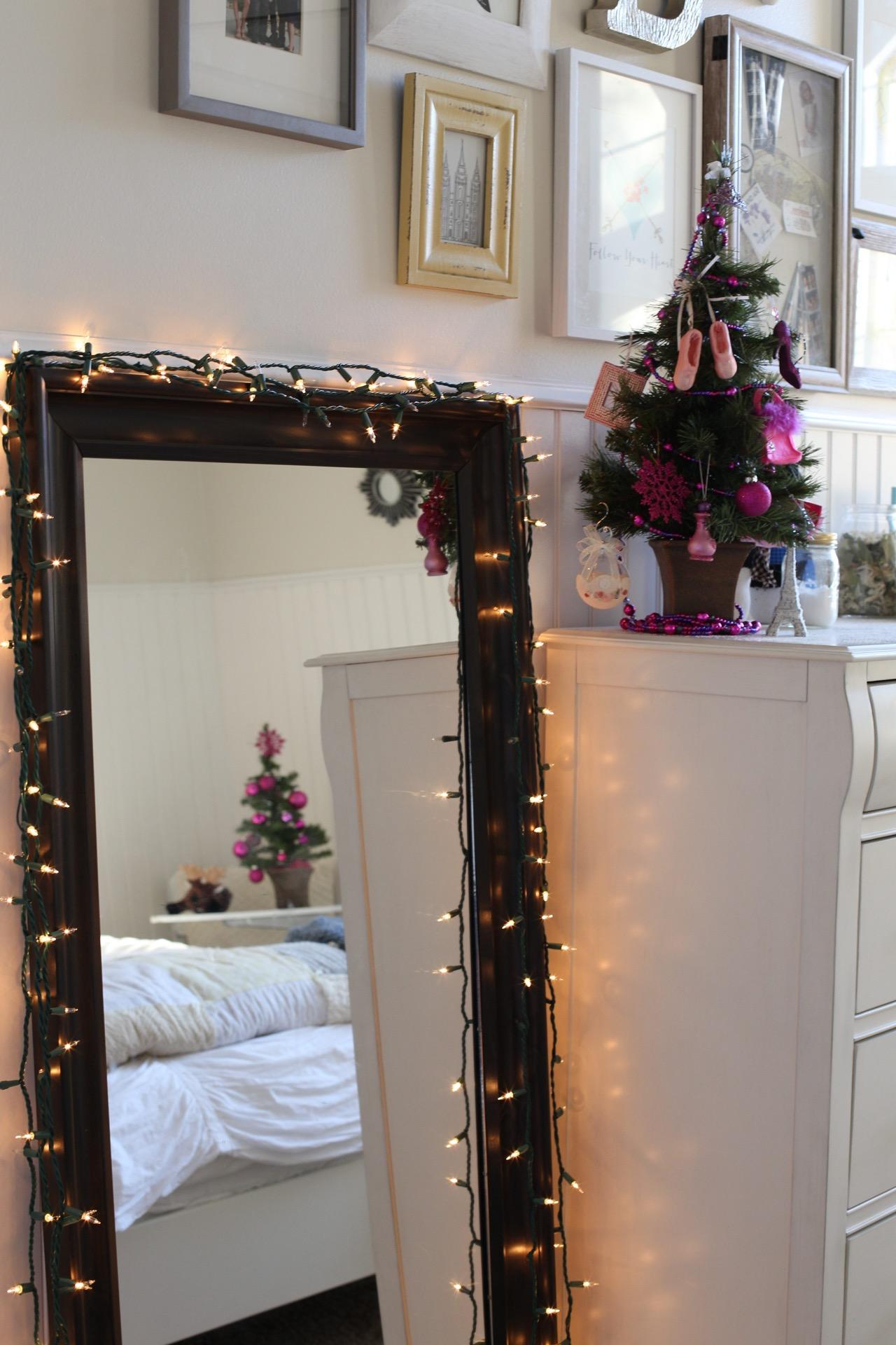 Brynn's mirror reflects many Christmas decorations, along with the mirror itself, November 14, 2016.