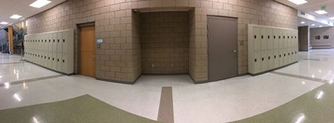 The vending machine removal over the summer leaves gaping void in wall of the main hallway at DPMS.