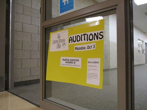 A Poster advertising for students to come and audition for the musical.