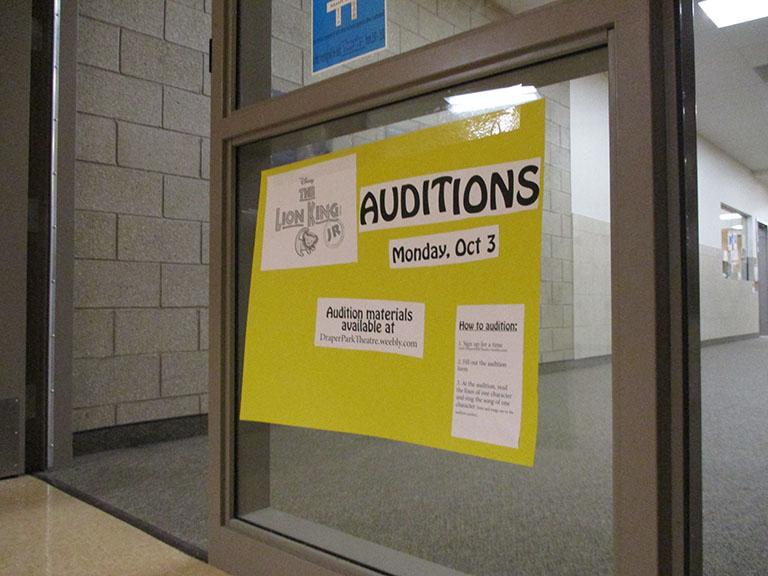 A+Poster+advertising+for+students+to+come+and+audition+for+the+musical.