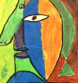 Abstract oil pastel painting made by an art three student