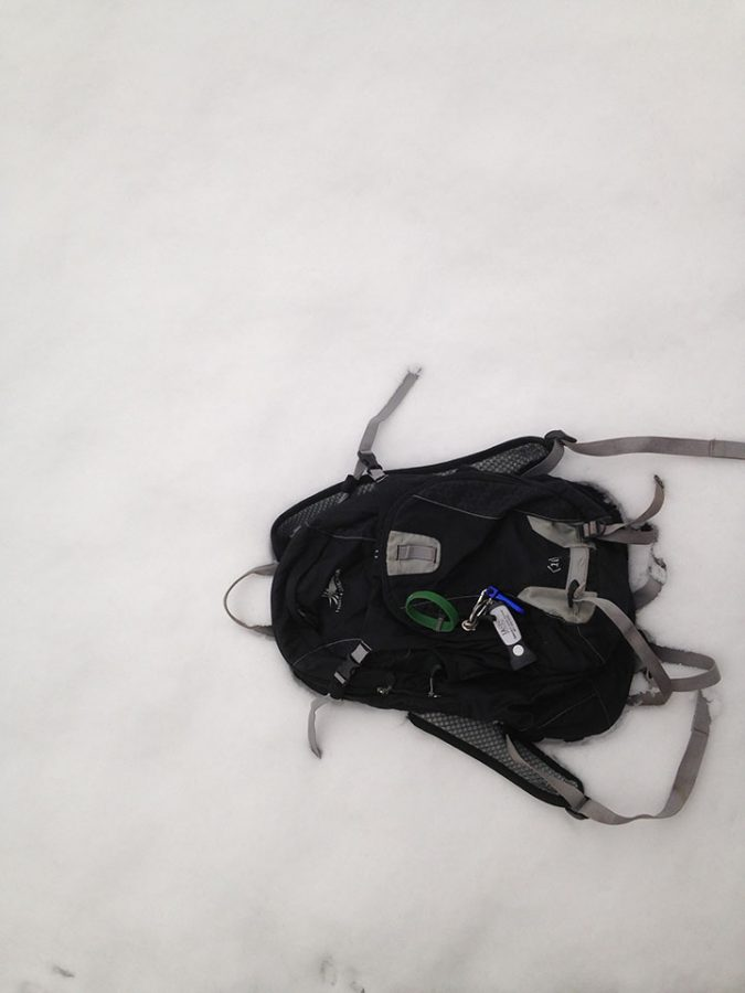 Photo of bike bag in the snow