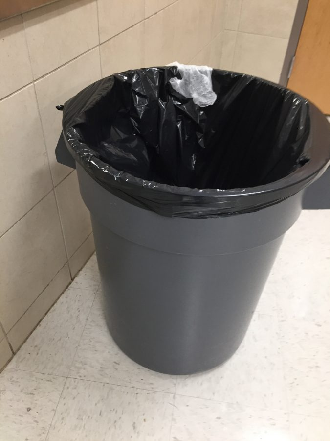 A trash can in the school cafeteria this photo was taken on January 3rd 2017.