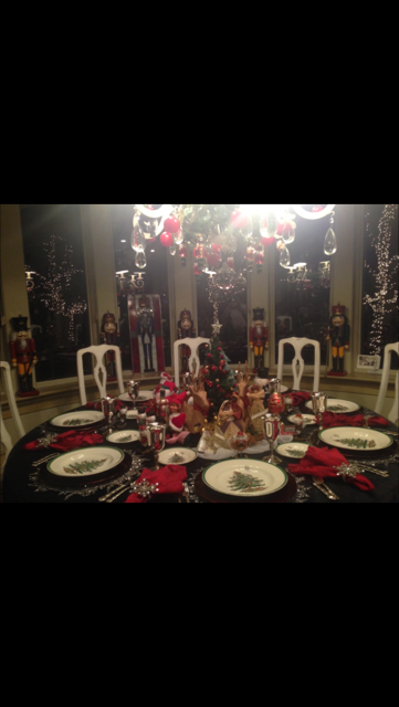 Sandra Covey's dining area filled with the Christmas spirit, on Christmas day.