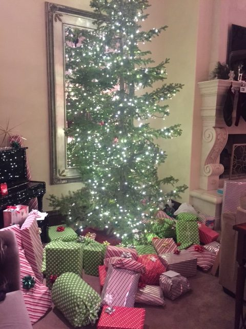 The Pitts Christmas tree in their living room with all their presents under the tree on Christmas Eve.