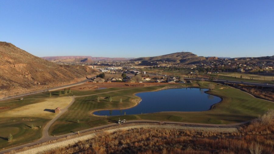 Drone flying over golf course in St George on December 29th, 2016.