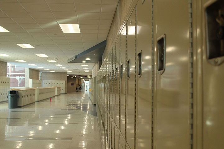 Leading lines through the lockers.