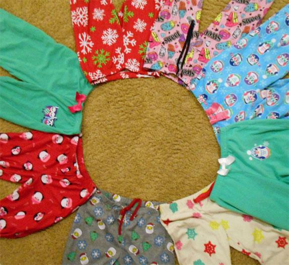 A DPMS student has laid out her pajama bottoms so that she can choose which pajamas she would like to wear to school on pajama day, December 19th, 2016.