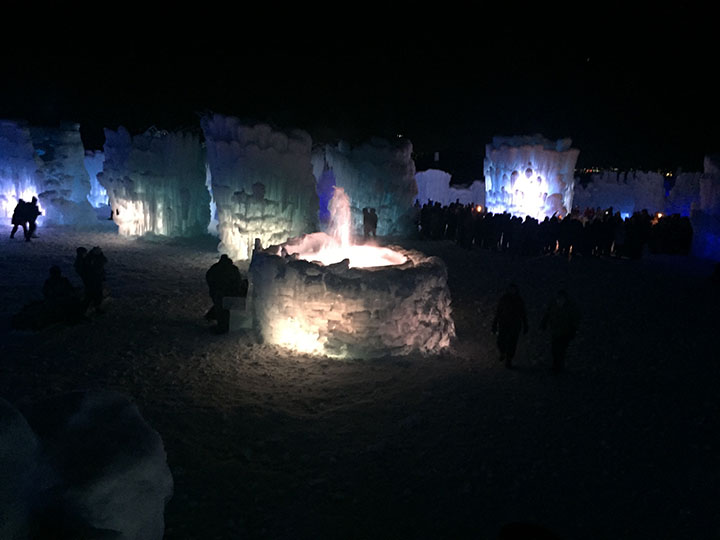At the middle of the Ice Castles in Midway, UTah, there is a fountain  that changes colors. This picture was taken when it was white. Taken on January 6th.