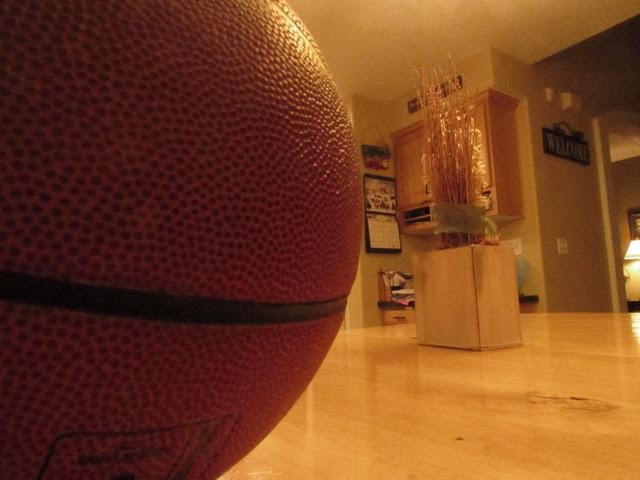 The side of a Spalding Basketball that was taken by Jeff Tolk.