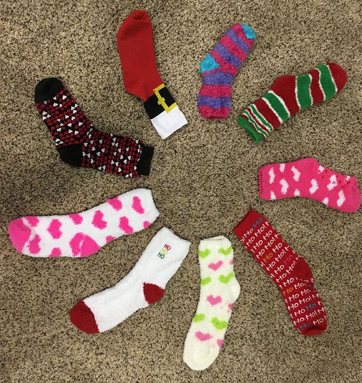 There were so many different styles of socks worn to school on crazy sock day. This picture shows a few socks that were worn.