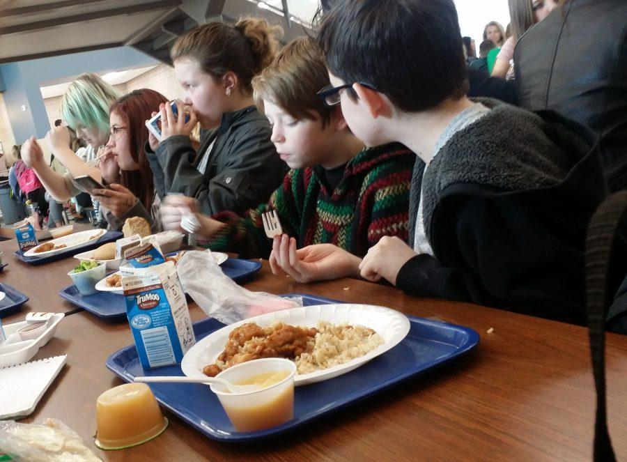 This is a picture of seventh graders liking the school lunch on February 15, 2017.
