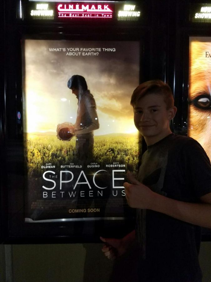 Kyson Montague getting ready to watch the space between us at the Cinemark theaters Saturday February 4th.