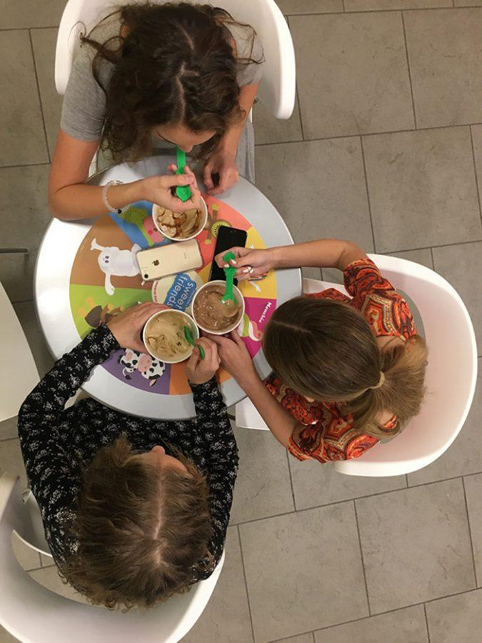 An airplane view of Megan Meyer, Sadie Hanks, and Brynn Franckowiak eating Menchie's on February 21, 2017 at 8:15.
