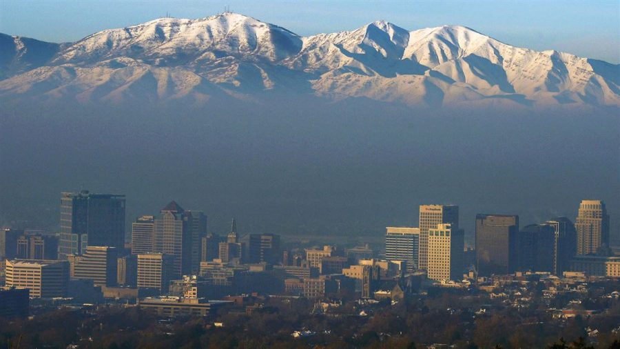 The city of Salt Lake city is surrounded by pollution