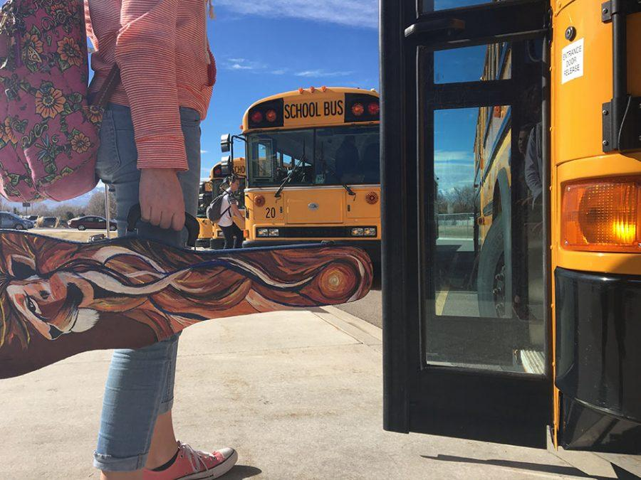 Paris Howell, ready to walk onto bus, outside of the school, February 16, 2017