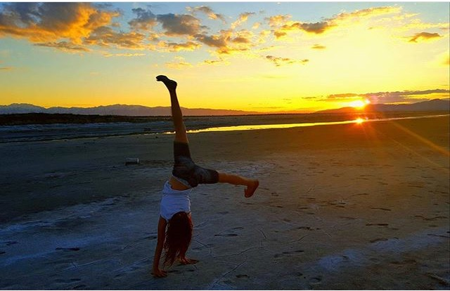 Avery Tiffany does a cartwheel on the Utah Salt Flats on May 17th, 2016.