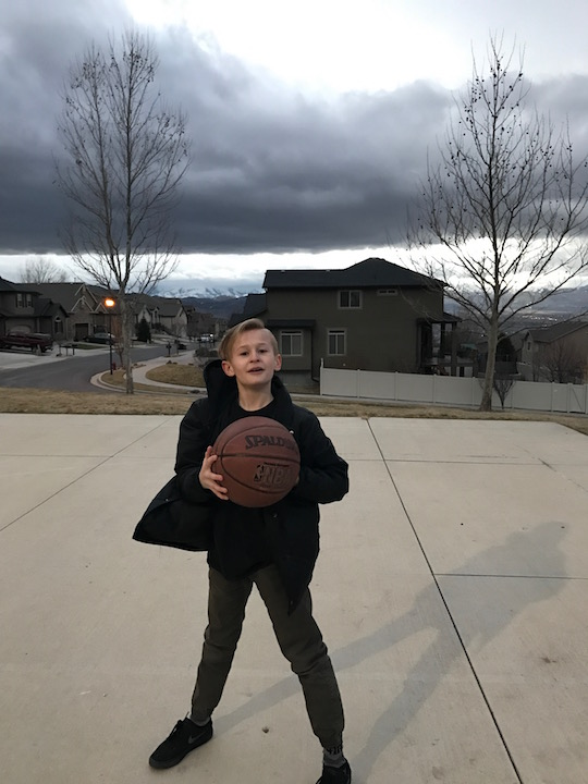 Talon Wasescha is playing basketball at Steep Mountain park February 20, 2017.