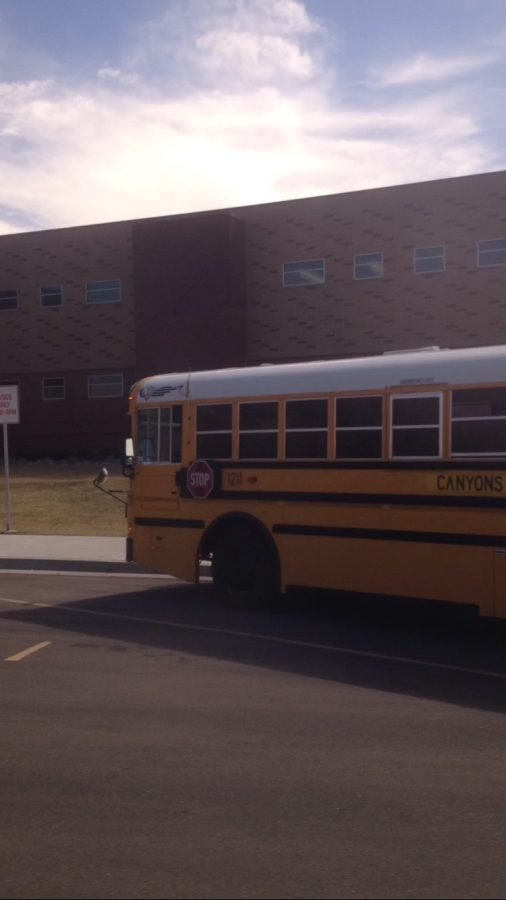 This school bus is taking 8th grade students to the Leonardo museum on