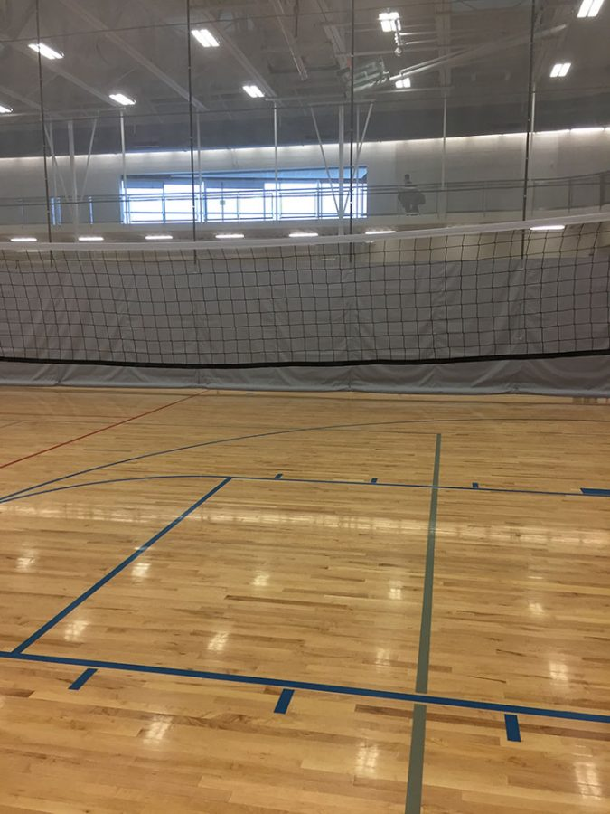 This is a volleyball net that just got done being played by 7th graders between 2nd and 3rd period at DPMS.