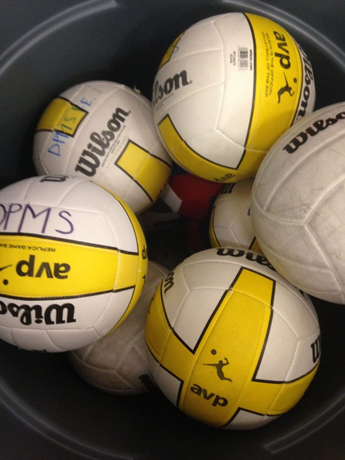 This is a bucket of volleyballs patiently waiting to be played by students early morning at DPMS. 2/27/17