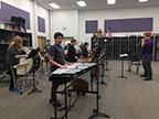 Group 1 of the percussion ensemble playing Dance of the Windup Toy. Photo taken on 2/15.
