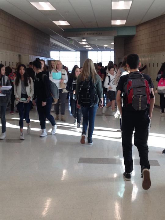 Students at Draper Park walking in the hall to their third period on February 15, 2017.