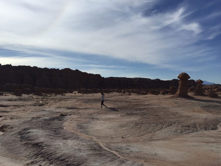 A picture of Olivia Lewis walking in Goblin Valley. Taken October 3.