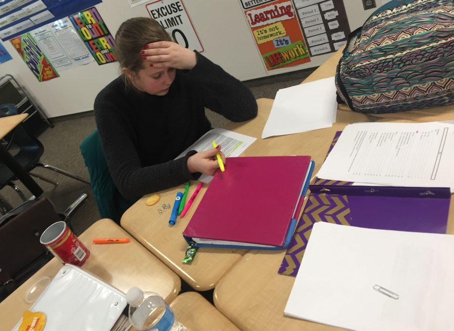 Ashlin Richardson working on her cases on a Thursday afternoon in Mr. Armstrong's room.