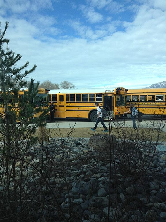 Students going to their buses after school, taken at DPMS on Feb. 13.