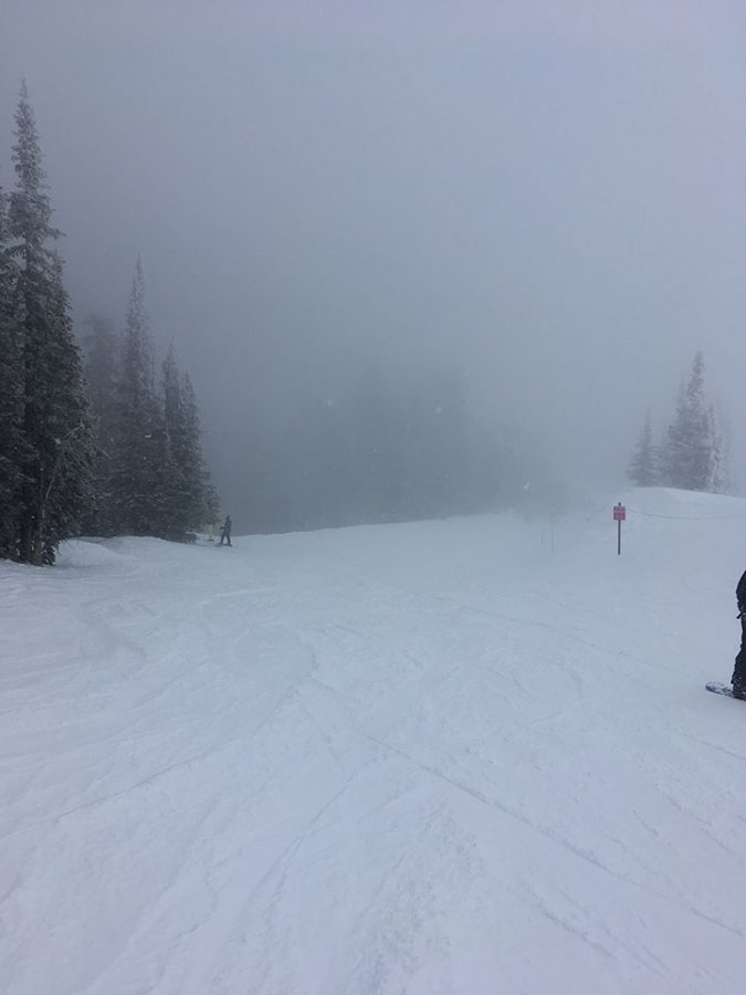 This picture was taken on Saturday, February 18, 2017. This picture is of pollution as you can see it is bad. In the back-round in the very back Jack and Cole Baird are there. They are snow skiing at Brighten Ski Resort