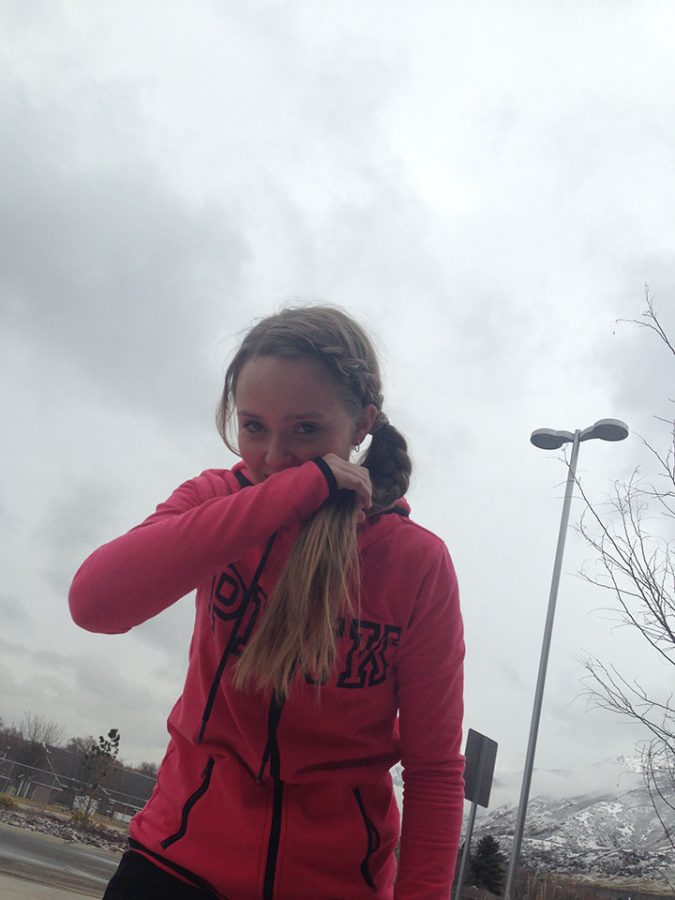 This is a picture of Savannah Savage, 8th grader, who is coughing as a result of air pollution. This picture was taken on February 22, 2017. She is out side of DPMS.