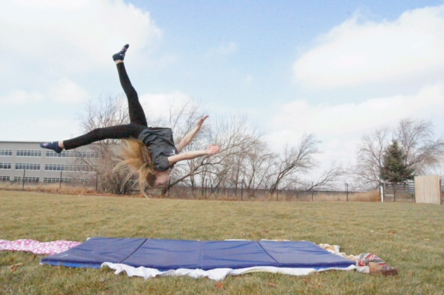 Alyda Blankenstein, like many other girls, loves to do gymnastics and spends many hours every day perfecting their tumbles and twists. This was taken on 1-17-17 at Bricker Park.