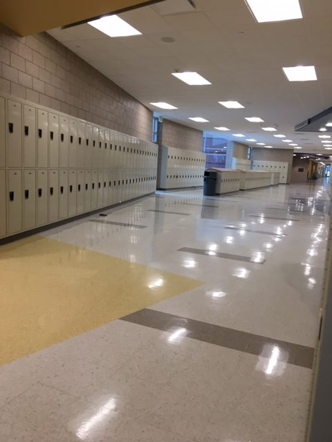 This is the photo taken just outside the yellow hall right next to the lockers. The photo was taken February 28, 2017.