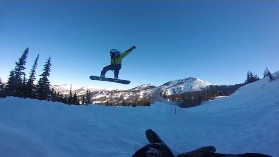 Zac Barnes a DPMS student snowboarding at Brighton ski resort on January, 16th at 9:23 PM