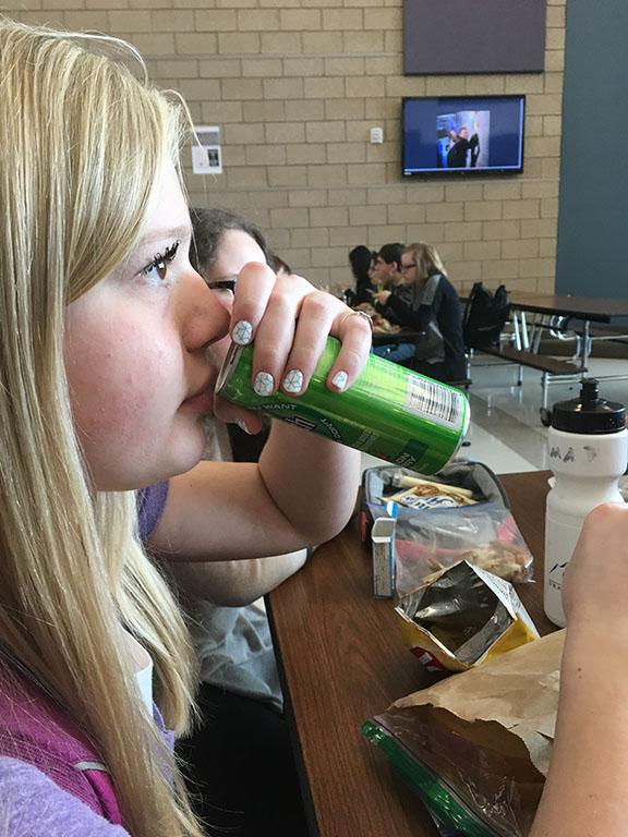 Kylie Wood, drinking soda at DPMS cafeteria 2/24/17.