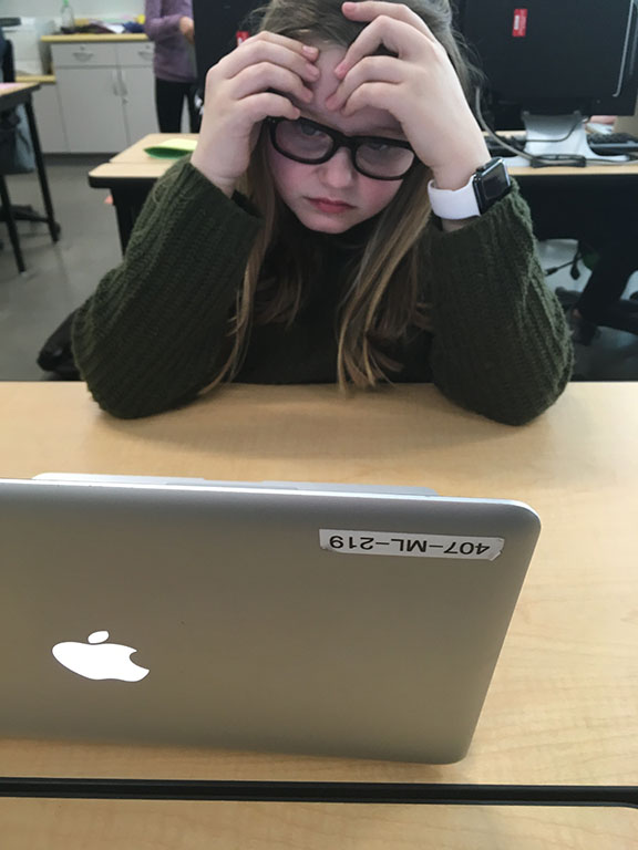 Ellie Ware working hard on finishing her assignment on time, taken at DPMS Feb 28