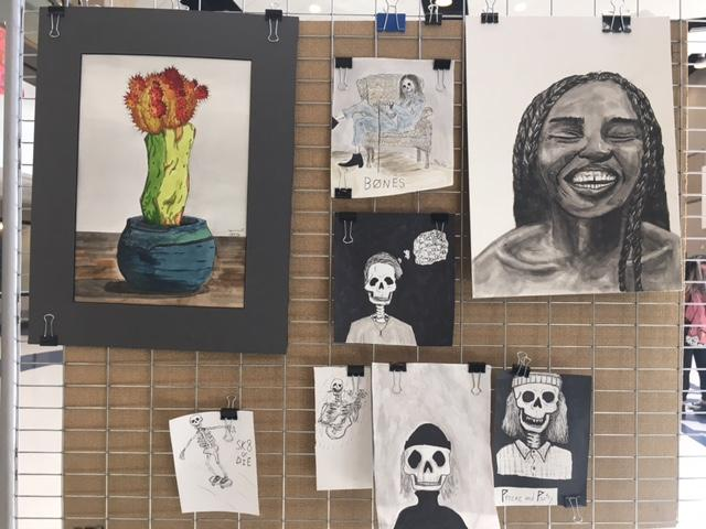 Some of the student artwork on display in the Corner Canyon common room on February 16th.