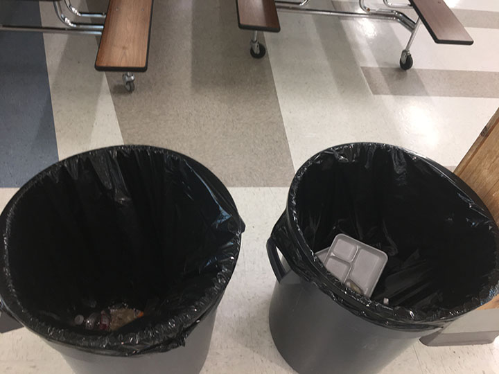 This image portrays two trash cans in the lunchroom at Draper Park Middle School located in Draper, Utah. This is where many uneaten fruits and vegetables end up. This picture was taken on February 21, 2017.