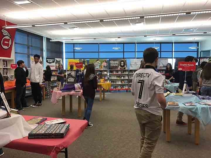 Heike Pederson's class at the Book Fair in the Library on Febuary 15.
