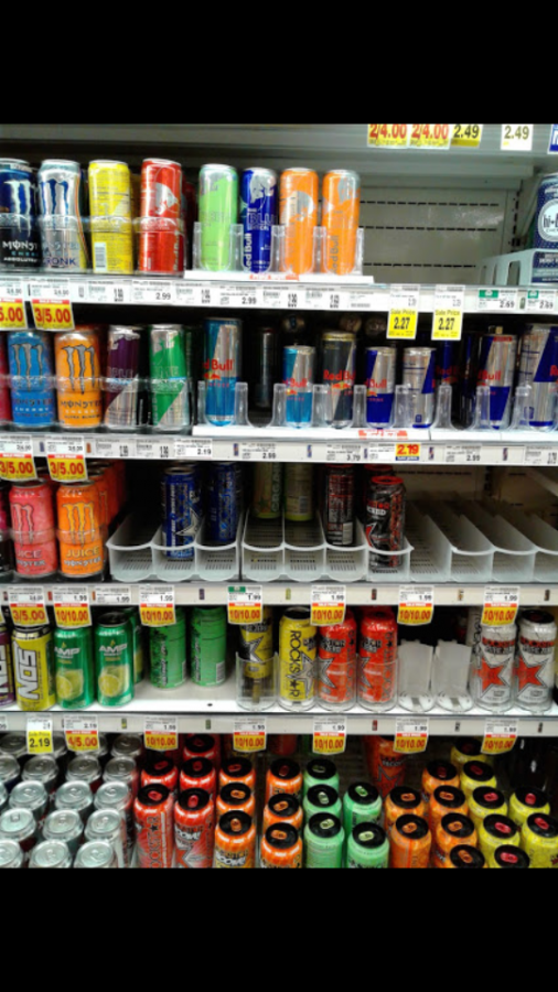 Very colorful collection of energy drinks at Harmons taken February 25th