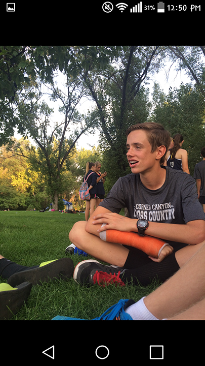 cross country team just chilling out and talking to each other. this was taken September 15, 2016.