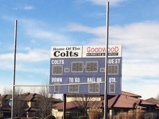 The Colts Field scoreboard in Idaho on February 19, 2017