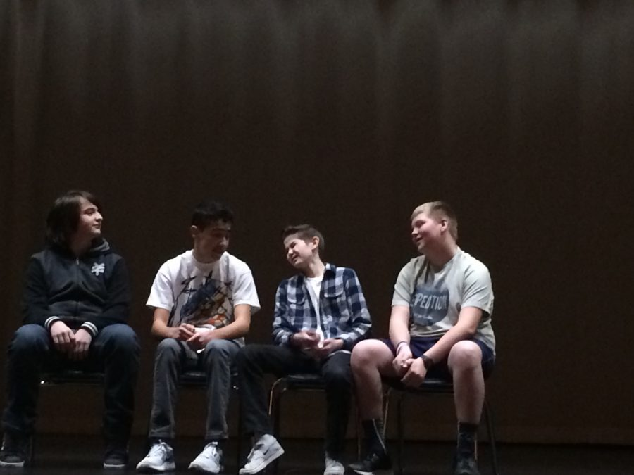 Mason Dodge, Spencer Croston, Jared Memmott, and Spencer Madson perform their scene in Productions Company.