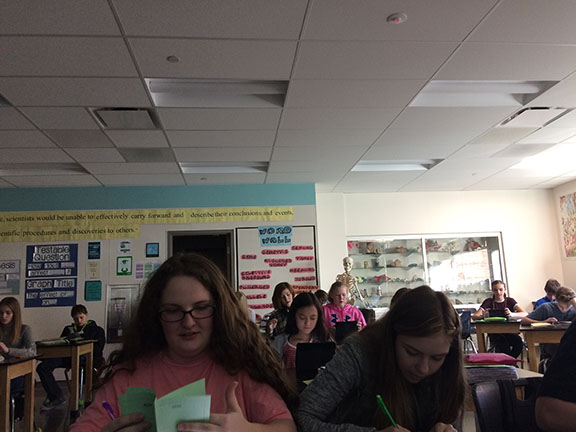 Christina Stenten's third period is testing in the science classroom on February 16.