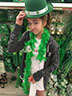 Ellie Mills is trying on some Saint Patrick's Day clothing at the Dollar Store on February 10, 2017.