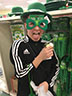 Avery Hartey is being silly while trying on Saint Patrick's Day gear on February 10, 2017.