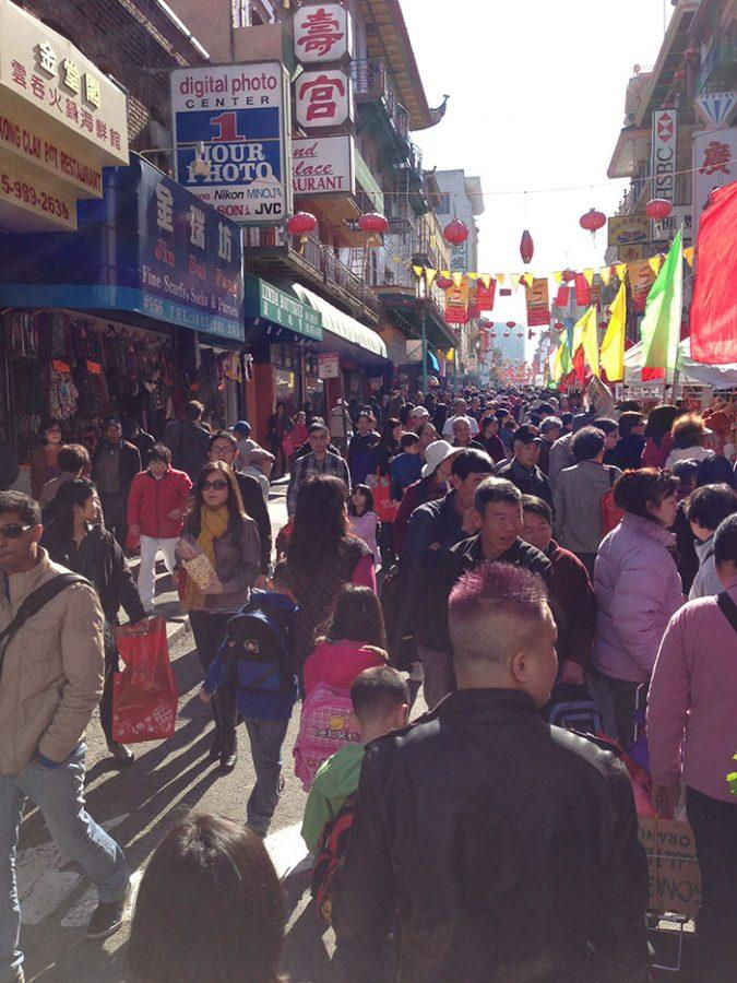 A street in Chinatown San Francisco, during Chinese New year.