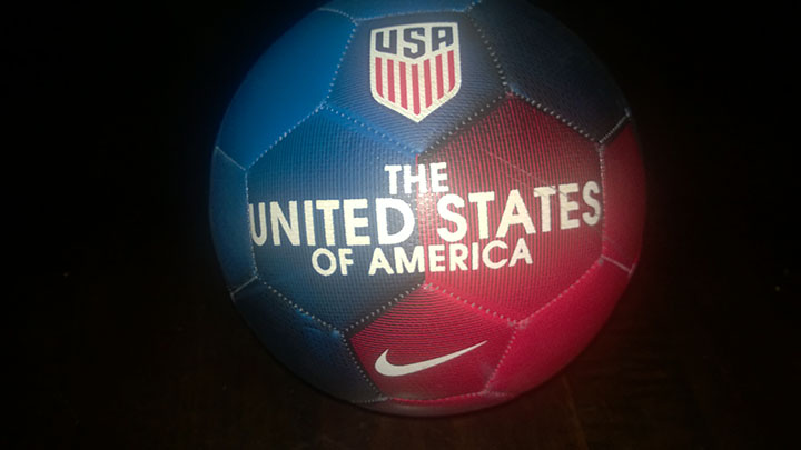 This is a photo of a soccer ball during the night outside in my yard on 9/27/16.