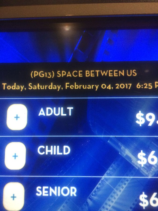 Buying tickets at the Megaplex Theaters to watch The Space Between Us on Saturday February 4th.